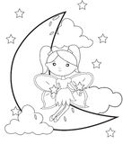 Fairy on the moon coloring page vector illustration