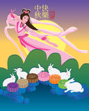 Fairy moon rabbit colorful moon cake card Royalty Free Stock Photos