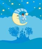 Fairy on moon. Royalty Free Stock Photo