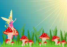 Fairy on the mushroom Stock Photo