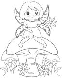 Fairy on a mushroom coloring page Royalty Free Stock Images