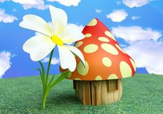 Fairy Mushroom Cottage with Flower Stock Photography