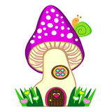 Fairy mushroom house with snail vector illustration Royalty Free Stock Images