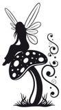 Fairy, mushroom, wood. Little fairy on a mushroom, black art Vector Illustration