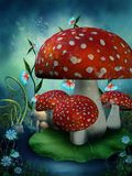 Fairy mushrooms and flowers. Fairy mushrooms and colorful flowers Royalty Free Stock Photography