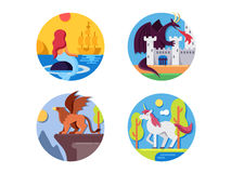 Fairy mythical creatures icons Royalty Free Stock Photography
