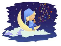 Fairy night music on the moon Royalty Free Stock Photography