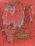 Fairy, no.2. Hand drawing picture, fairytale´s imagination with little women´s figures Stock Images