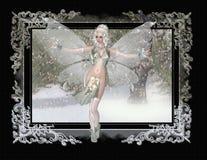 Fairy no fundo da pintura do inverno Imagem de Stock