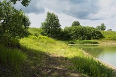 Fairy nook rural Lake. Lake in Nizhegorodsky region stock image