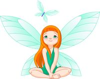 Fairy observes for flying butterfly Stock Images