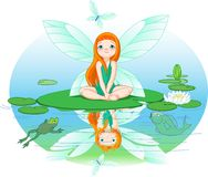 Fairy observes for flying butterfly Royalty Free Stock Images
