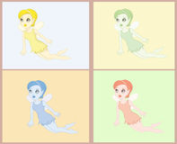Fairy page. Illustrations about different coloured flying little fairy Royalty Free Stock Photography