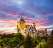 Fairy Palace against sunset sky /  Panorama of Palace in Sintra, Stock Photo