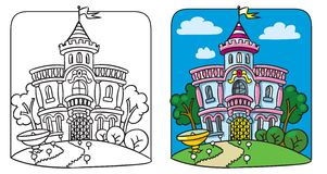 Fairy palace. Coloring book Stock Images