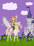 Fairy and pegasus Stock Image