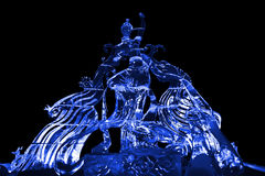 Fairy and Phoenix ice sculpture blue Royalty Free Stock Photos