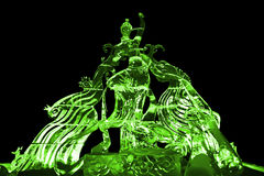 Fairy and Phoenix ice sculpture green Royalty Free Stock Image