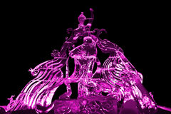 Fairy and Phoenix ice sculpture pink Royalty Free Stock Images