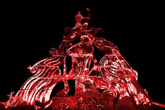 Fairy and Phoenix ice sculpture red Royalty Free Stock Photo