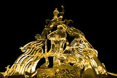 Fairy and Phoenix ice sculpture yellow Royalty Free Stock Images