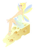 Fairy and piece of cheese Stock Image