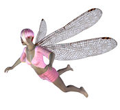 Fairy with pink dragonfly wings Stock Photos