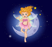 A fairy with a pink dress near the moon Stock Photo