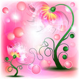 Fairy Pink flowers. Fairy pink mum and baby flowers in abstract dreamy background Vector Illustration
