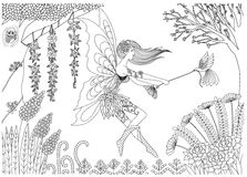 Fairy is playing with bird in the forest design for coloring book for adult- stock  Royalty Free Stock Photos