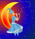 Fairy plays on flute tune stars Stock Photo