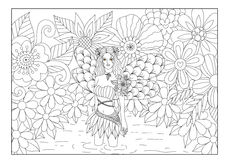 Fairy in pond line art design for coloring book for adult. Stock Photos