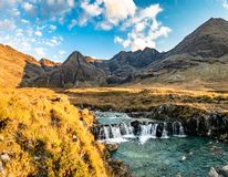 The Fairy Pools in autumn, Glen Brittle, Skye, Scotland stock photography
