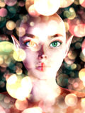 Fairy portrait with bokeh Royalty Free Stock Photos