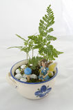 Fairy in a potted fairy garden Stock Image
