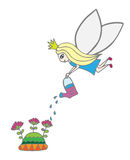 A fairy pours water flowers Royalty Free Stock Image