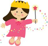 Fairy Princess. Flying with her magic wand royalty free illustration