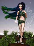 Fairy princess. Beautiful fairy princess with long hair holding a star Royalty Free Stock Images