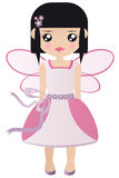 Fairy Princess. Black Haired Caucasian Fairy Princess In A Pink Dress And Wings Royalty Free Stock Image