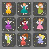 Fairy princess adorable characters cards imagination beauty angel girls with wings vector illustration. Cute girls in fly cards vector illustration. Fairy stock illustration