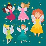 Fairy princess adorable characters. Cute girls in fly vector illustration. Fairy princess adorable characters. Imagination beauty angel with wings. Smile stock illustration