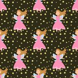 Fairy princess adorable characters seamless pattern background imagination beauty angel girls with wings vector. Cute girls in fly vector illustration seamless vector illustration