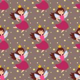 Fairy princess adorable characters seamless pattern background imagination beauty angel girls with wings vector. Cute girls in fly vector illustration seamless stock illustration