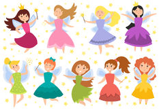 Fairy princess adorable characters vector. Cute girls in fly vector illustration. Fairy princess adorable characters. Imagination beauty angel with wings. Smile stock illustration
