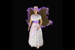 Fairy Princess. Beautiful fairy princess in bright white dress with bright wings stock illustration
