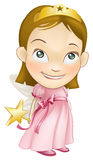 Fairy princess costume girl child. An illustration of a young white caucasian girl dressed as a fairy princess in a fairy princess costume with a crown, star Royalty Free Stock Photos