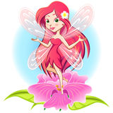 Fairy Princess Flying Above a Flower Stock Image