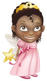 Fairy princess girl. An illustration of a young black girl dressed in a fairy princess costume, with a crown, star wand and butterfly wings Royalty Free Stock Photo
