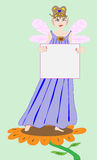 Fairy Princess Holding a Blank Sign. A Fairy Princess is holding a blank sign Vector Illustration