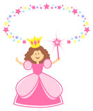 Fairy Princess with Star Border/eps. Oval star border with a cartoon fairy princess. Personalize with a little girls name in the oval Stock Image